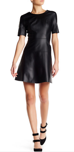 Image is loading Tart-Carla-Faux-Leather-Skater-Dress-BLACK-SIZE- d5cfd0275
