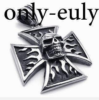 Edelstahl Anhänger Totenkopf Biker Skull Kette Halskette Schmuckanhänger Kreuz