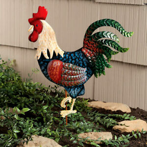 Colorful-Rooster-Bird-Metal-Stake-Garden-Statue-Yard-Art-Lawn-Ornament-16-039-039-H