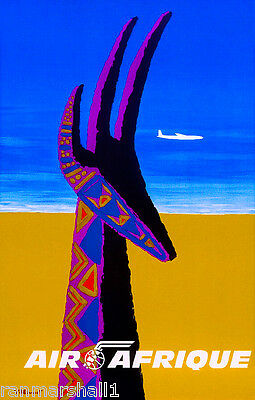 Africa African Antelope Afrique Vintage Travel Advertisement Art Poster