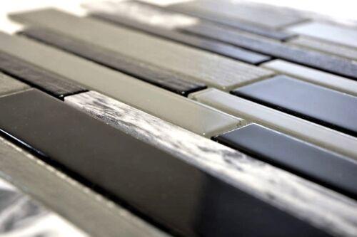 Mosaïque Carreau Glasmosaik pierre naturelle gris noir mur cuisine douche 67-gv44/_b