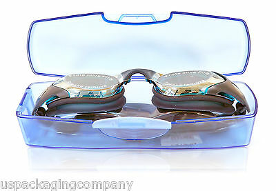 Blue Mirrored Swimming Goggles & Case Paraormic Anti-Fog Lens Adult Competition