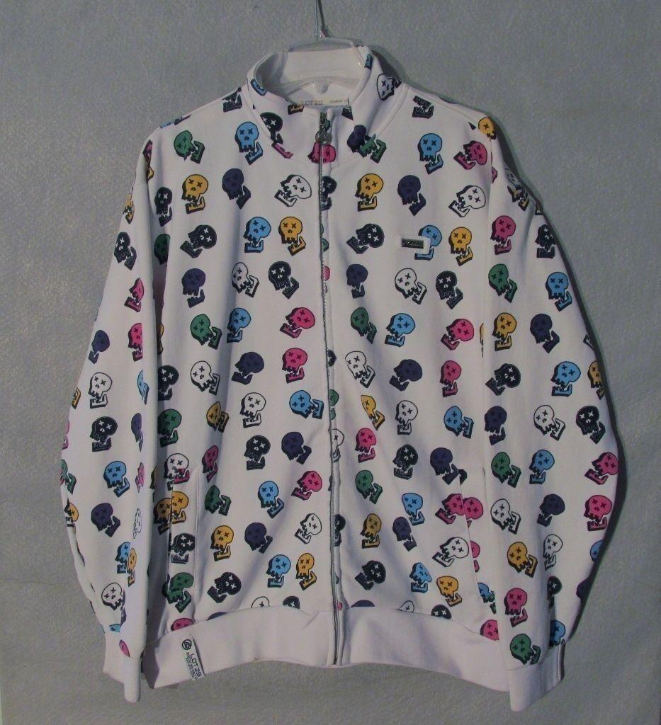 Skull Sweater Lot 29 White w  Multi-color Men's Large Inv Z8929