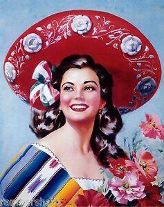 1940s-Mexico-Latina-Senorita-Woman-Sombrero-Advertisement-Vintage-Pin-Up-Poster