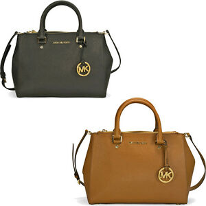 6342f8728b00 Image is loading Michael-Kors-Sutton-Saffiano-Leather-Medium-Satchel-Handbag -