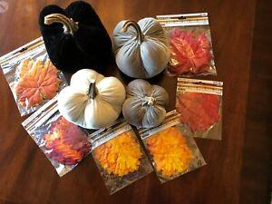 Set-of-4-Velvet-Stuffed-Pumpkins-amp-Leaves-Fall-Decor