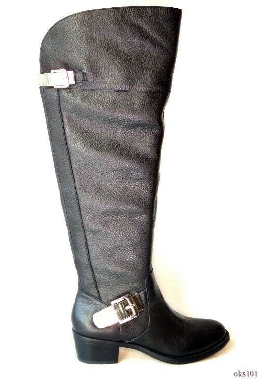 New VINCE CAMUTO Bocca black leather buckled TALL riding BOOTS 5 - wide calf fit