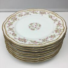 "Theodore Haviland Limoges Schleiger 844 Set Of 8 Salad Plates 7 5/8"" Double Gold"