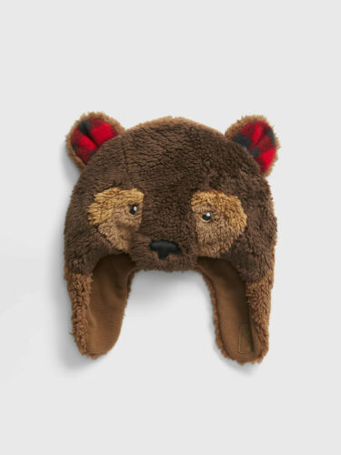 Baby Gap New Brown Bear Sherpa Trapper Hat 474683 XS//S S//M M//L $25