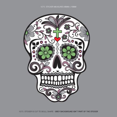 Día De Los Muertos-Calavera-Azúcar Calavera-Flor-Calcomanía Adhesivo// SKU1126