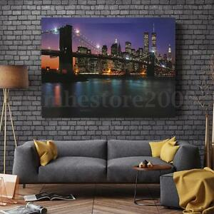Image Is Loading The Brooklyn Bridge LED Light Up Lighted Canvas