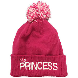 d50b607e4d2 Princess Embroidered Bobble Beanie His   Hers Couple Prince Hipster ...