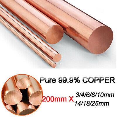 "1 Piece 99.9/% Pure Copper Cu Metal Rod Cylinder Diameter 6mm Length 200mm 8/"""