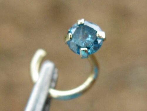 2.8mm STERLING SILVER REAL BLUE DIAMOND NOSE SCREW RING