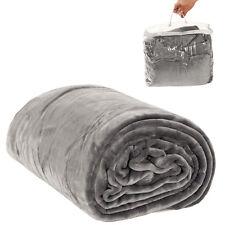 Couverture de jour polaire douillette Plaid 220 x 240 cm gris avec sacoche