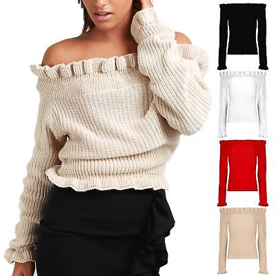 Ladies Womens Chunky Long Sleeve Knitted Off Shoulder Peplum Ruffle Frill Jumper