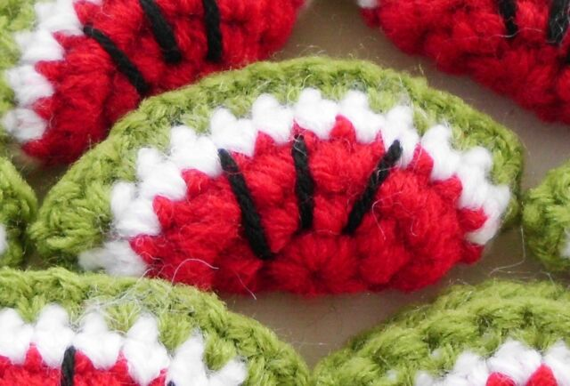 25! XL Crochet Wool Padded Watermelon Embellishment Melon Fruit Slices 50mm/2""