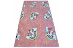 Fitted-Carpet-for-kids-UNICORN-Width-100-400-cm-story-animals-pink-yellow-white