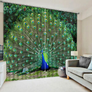 Vibrant-Peacock-Feather-2-Panels-3D-Printed-Blockout-Drape-Curtain-Fabric-Window