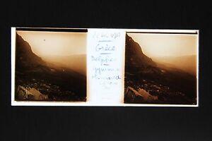 Grecia Panorama Da Delphi Archeologia Foto Vintage Stereo Placca Da Lente 1917