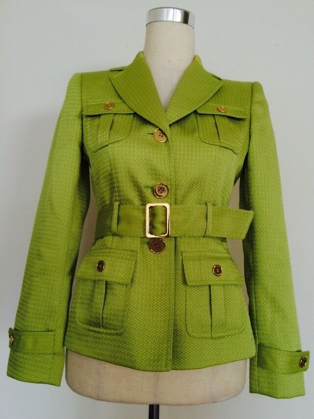Tahari Lined Lime Green Long Sleeve Blazer Belted Sz.2p