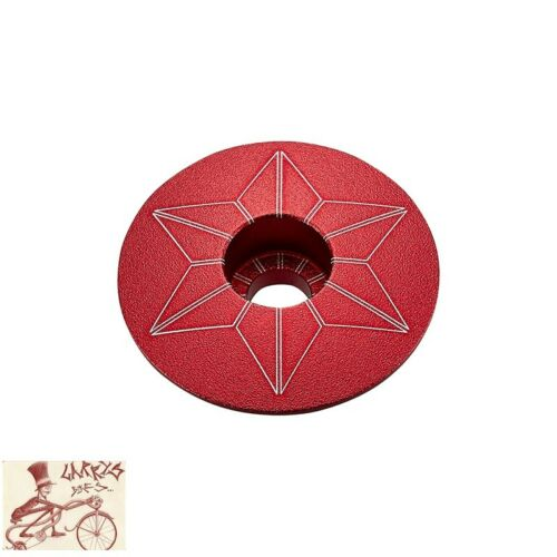 """SUPACAZ STAR CAPZ 1-1//8/"""" ANODIZED RED BICYCLE HEADSET TOP CAP"""