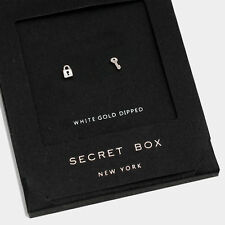 Key Earrings Tiny Secret Gift Box WHITE GOLD DIPPED Small Stud Heart Lock Simple