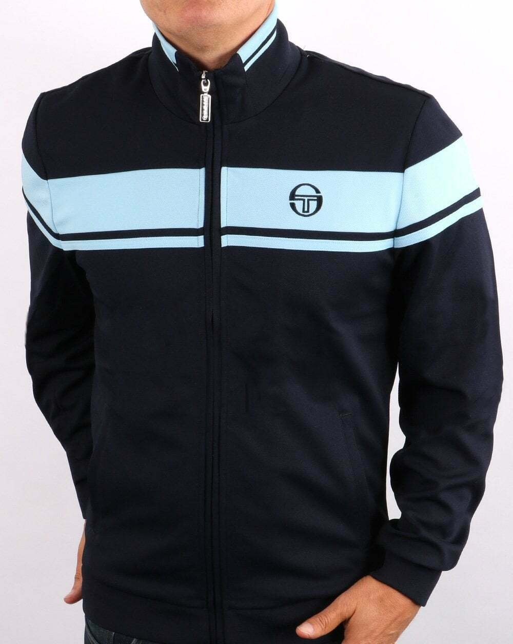 Sergio Tacchini Masters Track Top in Navy & Sky Blue - retro tracksuit jacket