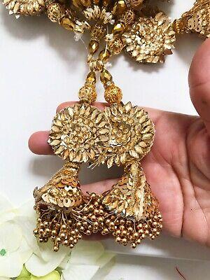 1 par oro indio más reciente del grano Cluster Borla latkan Sari Blusa duppata