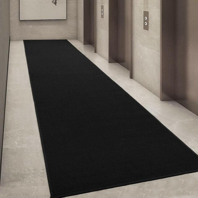 Black Modern Hall Runner Rug Long Rugs Hallway Area Carpet Non Slip Rubber Mat