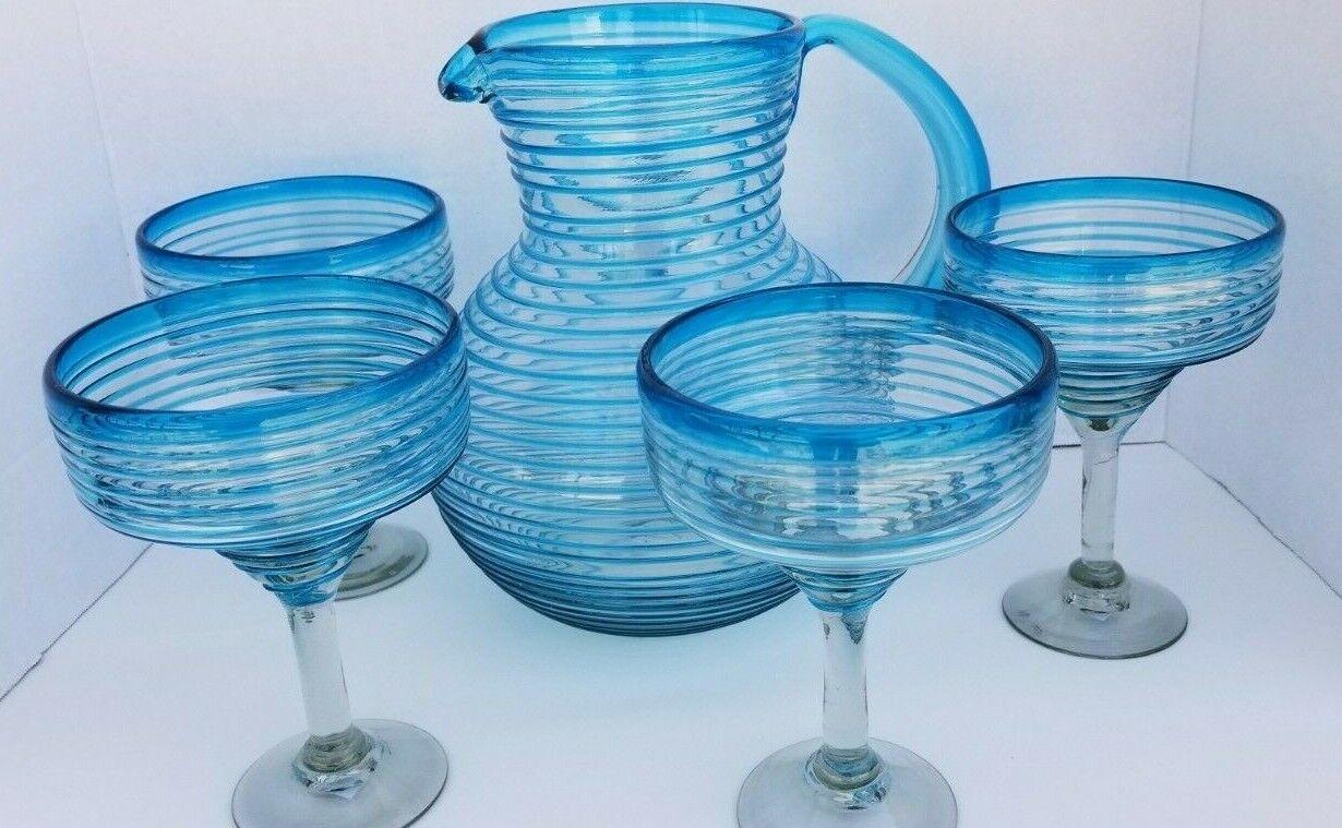 Jarra de vidrio soplado a mano y el conjunto de Vidrio Margarita Aqua Espiral   19.99 Envío