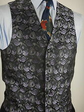Vintage Mens Purple And Black Floral Pattern Waistcoat Vest Size 38