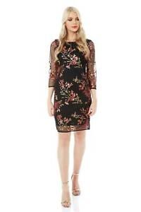 Roman-Originals-Women-039-s-Floral-Embroidered-Mesh-Overlay-Dress