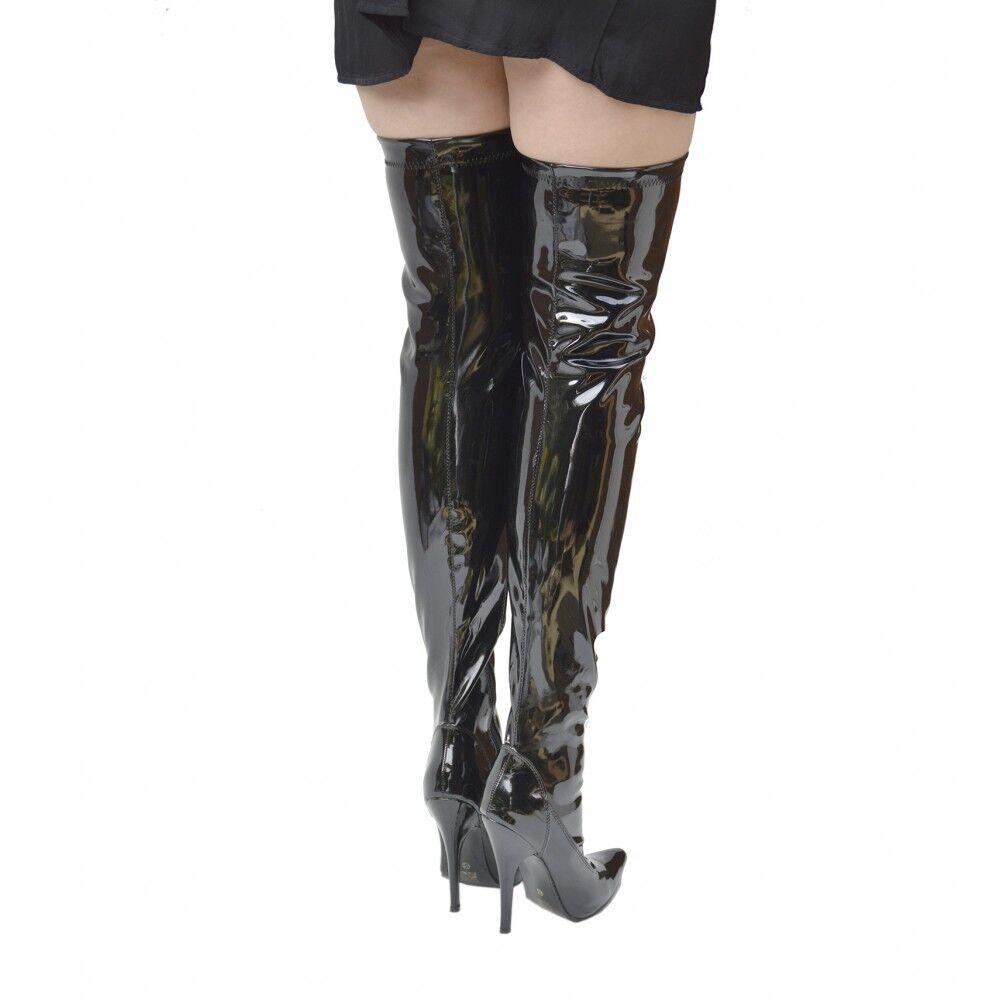 Sexy para Mujer Taco Alto Sobre Rodillas las Rodillas Sobre Zapatos Taco aguja Zapatos alto del muslo botas Zip grandes tamaños 9-12 242b28