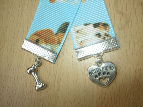 Handmade Beagle Dogs Ribbon Bookmark Charm Dog Puppy Bone Best Friend Pale Blue