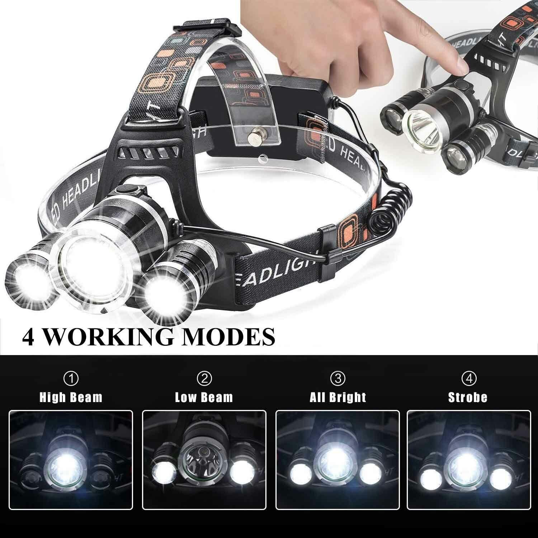 Waterproof 90000LM 3X T6 LED Headlamp Headlight Flashlight Head Torch 18650 Camp 5