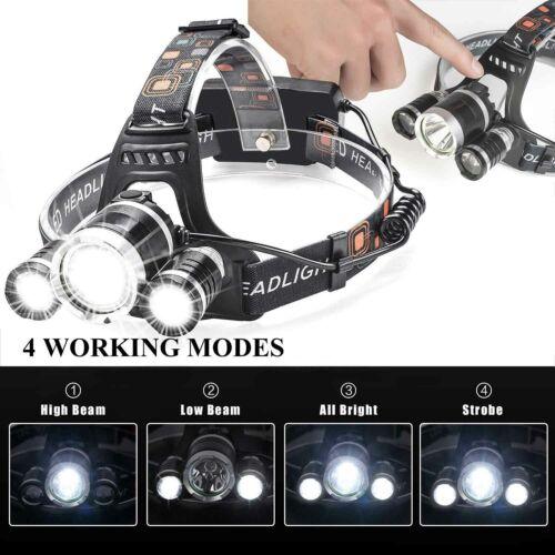 250000LM Led Headlight Headlamp Head Torch 18650 Fishing Work Light Flashlight