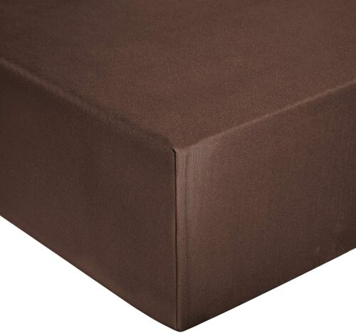 SIZE SINGLE 50//50 POLYCOTTON chocolate brown FITTED BED SHEET WRINKLE FREE