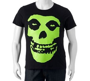 Misfits band horror punk rock green skull logo adult big for Big and tall rock t shirts