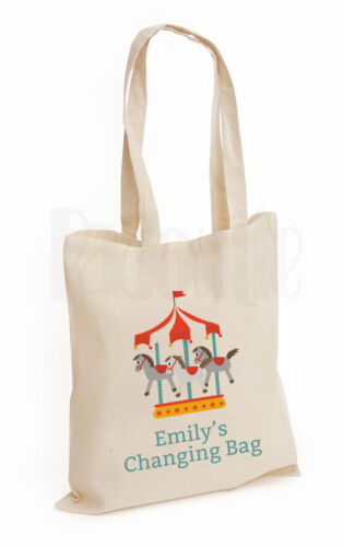 /'Carousel/' Personalised Baby Changing Nappy Cotton Canvas Tote Bag