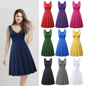 Women-Sleeveless-V-Neck-A-line-Midi-Flared-Casual-Cotton-Tank-Basic-Dress-Pocket