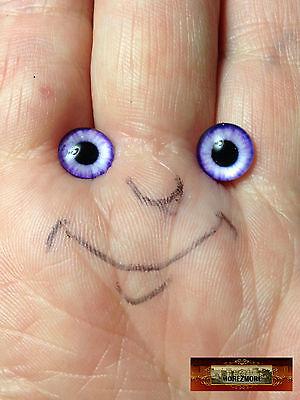 M01547 MOREZMORE 1 Pair Glass Eyes Iris 8mm COBALT BLUE Flat Back Doll Puppet