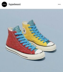 Details about Converse x JW Anderson Chuck Taylor All Star 70s HI 12 Glitter Yellow Red egret