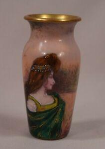 AgréAble Beau Français Antique Émail Armoire Vase Femme Paysage Fond