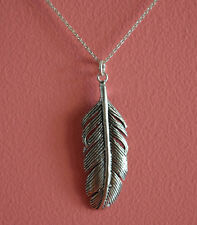 925 Sterling Silver Big Large Feather Charm Necklace - Feather Necklace