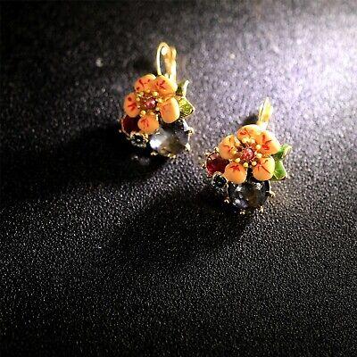 Boucles d/'Oreilles Dormeuse Doré Fleur Email Rouge Artisanal Class L2