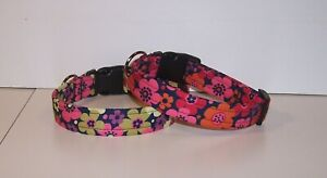 Wet-Nose-Designs-Colorful-Ultra-Chic-Flowers-Dog-Collar-Floral-Flower-on-Navy