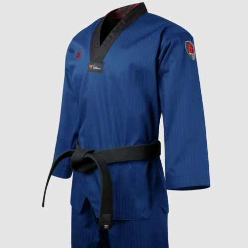 Taekwondo Blue Color Uniforms New WT Logo Doboks Mooto BS4.5 Suits Martial Arts