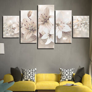 White Lily Flower Abstract Art 5 Pcs Canvas Wall Artwork Home Decor Poster Ebay