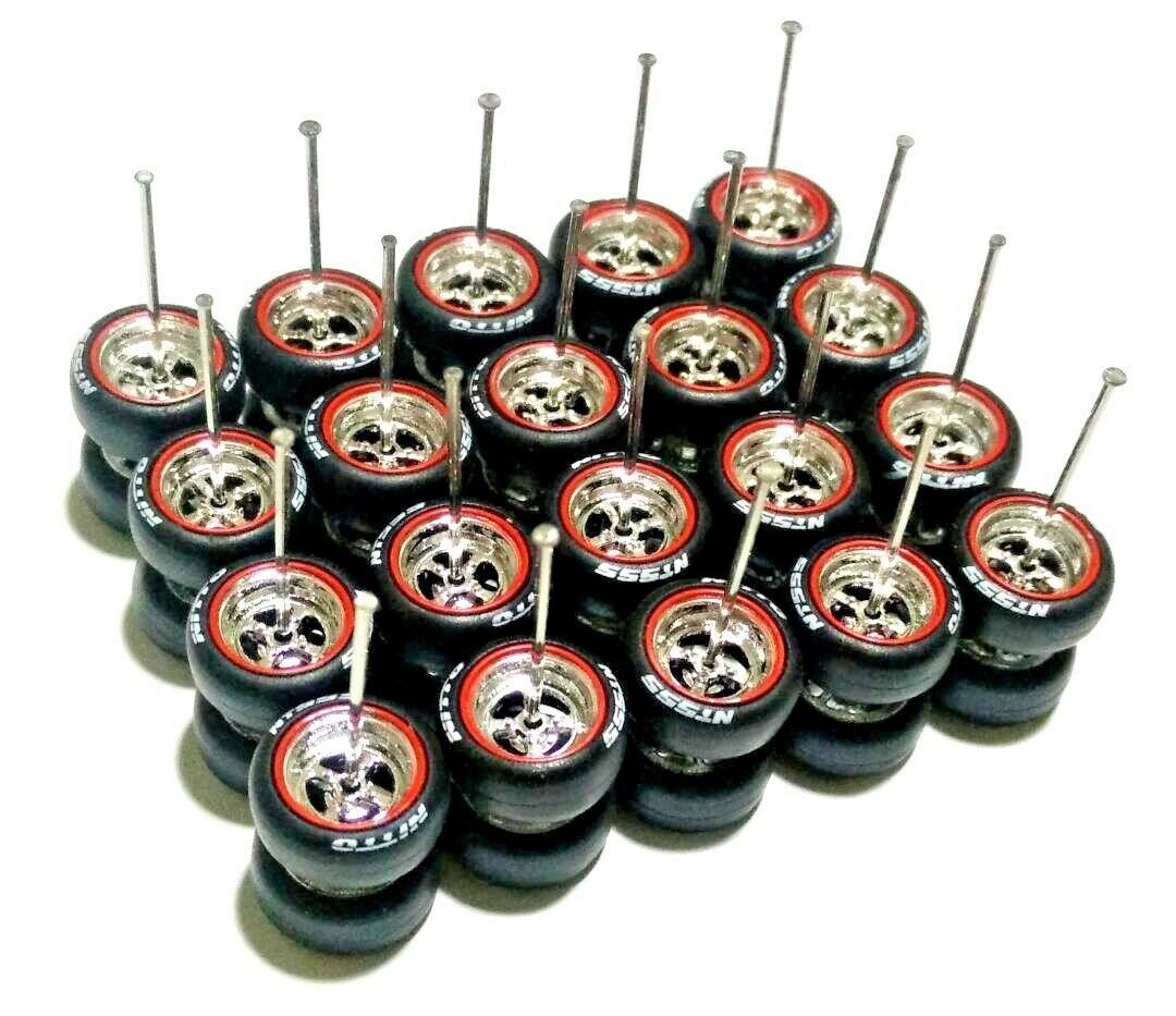 1 64 rubber tires rims 4 spoke - NITTO fit Hot Wheels Matchbox diecast -10 sets